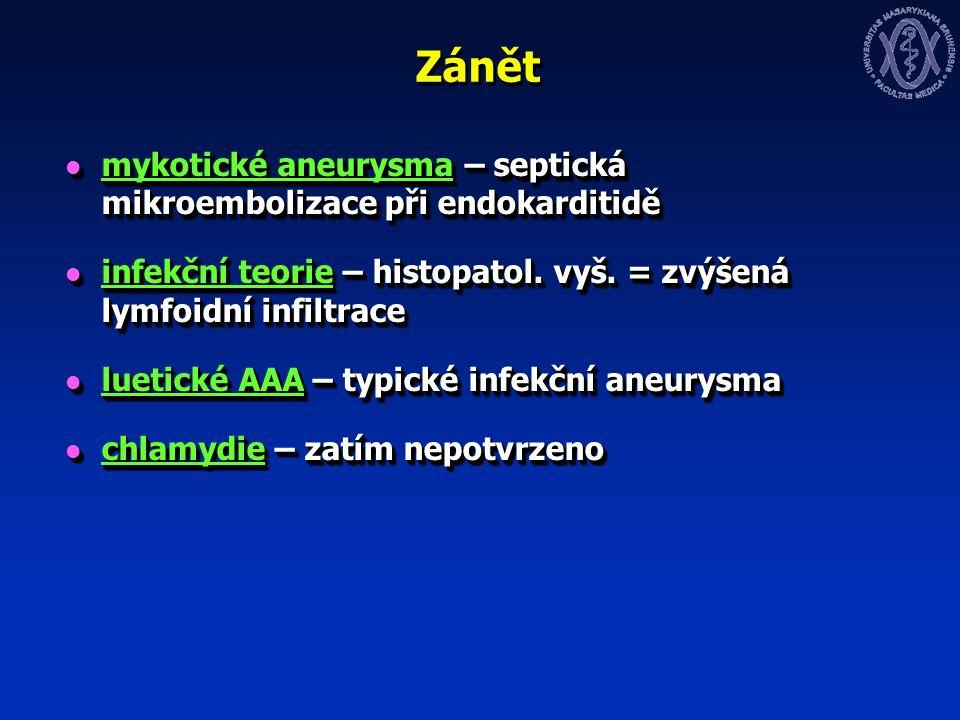 Zánět mykotické aneurysma – septická mikroembolizace při endokarditidě mykotické aneurysma – septická mikroembolizace při endokarditidě infekční teorie – histopatol.