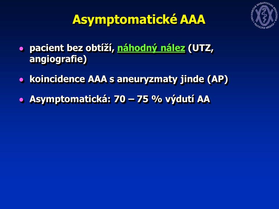 Asymptomatické AAA pacient bez obtíží, náhodný nález (UTZ, angiografie) pacient bez obtíží, náhodný nález (UTZ, angiografie) koincidence AAA s aneuryzmaty jinde (AP) koincidence AAA s aneuryzmaty jinde (AP) Asymptomatická: 70 – 75 % výdutí AA Asymptomatická: 70 – 75 % výdutí AA pacient bez obtíží, náhodný nález (UTZ, angiografie) pacient bez obtíží, náhodný nález (UTZ, angiografie) koincidence AAA s aneuryzmaty jinde (AP) koincidence AAA s aneuryzmaty jinde (AP) Asymptomatická: 70 – 75 % výdutí AA Asymptomatická: 70 – 75 % výdutí AA