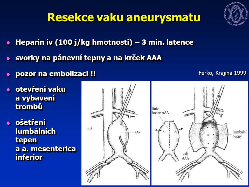 Resekce vaku aneurysmatu Heparin iv (100 j/kg hmotnosti) – 3 min.