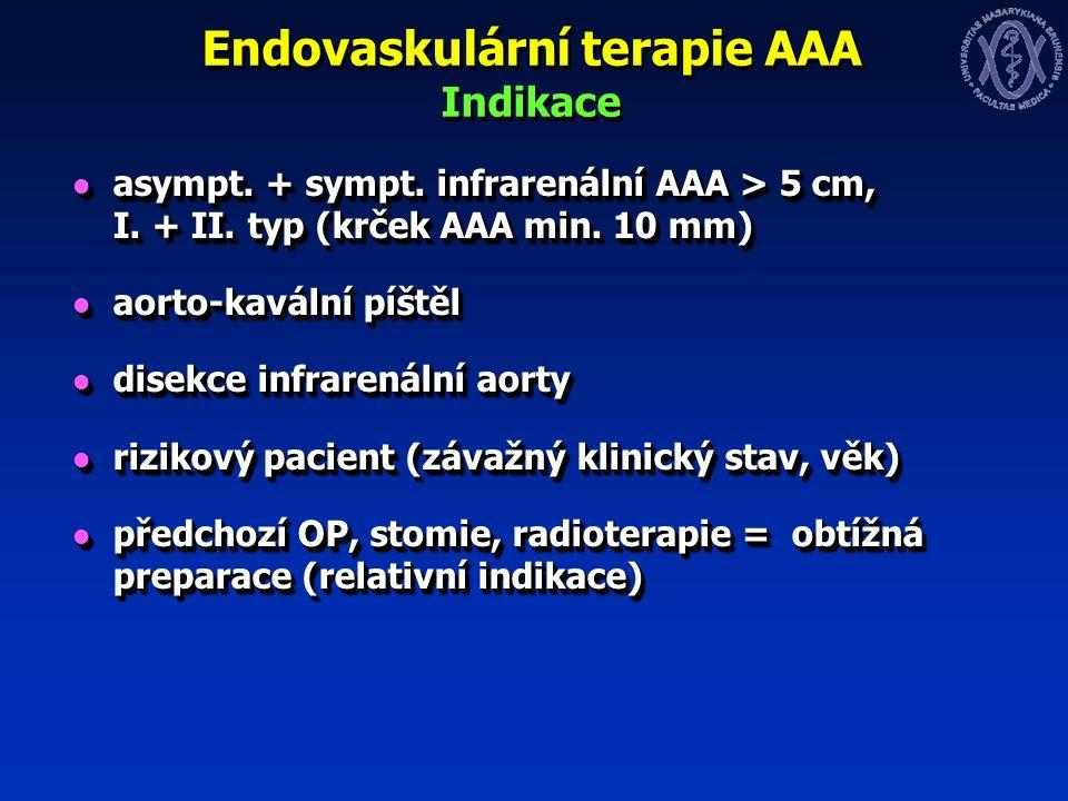 Endovaskulární terapie AAA Indikace asympt. + sympt.