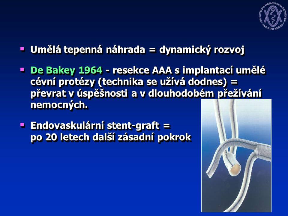  Umělá tepenná náhrada = dynamický rozvoj  De Bakey 1964 - resekce AAA s implantací umělé cévní protézy (technika se užívá dodnes) = převrat v úspěšnosti a v dlouhodobém přežívání nemocných.
