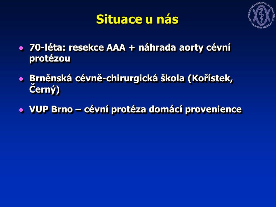 Situace u nás 70-léta: resekce AAA + náhrada aorty cévní protézou 70-léta: resekce AAA + náhrada aorty cévní protézou Brněnská cévně-chirurgická škola (Kořístek, Černý) Brněnská cévně-chirurgická škola (Kořístek, Černý) VUP Brno – cévní protéza domácí provenience VUP Brno – cévní protéza domácí provenience 70-léta: resekce AAA + náhrada aorty cévní protézou 70-léta: resekce AAA + náhrada aorty cévní protézou Brněnská cévně-chirurgická škola (Kořístek, Černý) Brněnská cévně-chirurgická škola (Kořístek, Černý) VUP Brno – cévní protéza domácí provenience VUP Brno – cévní protéza domácí provenience