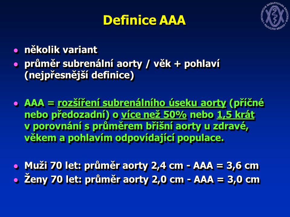 Definice AAA několik variant několik variant průměr subrenální aorty / věk + pohlaví (nejpřesnější definice) průměr subrenální aorty / věk + pohlaví (nejpřesnější definice) AAA = rozšíření subrenálního úseku aorty (příčné nebo předozadní) o více než 50% nebo 1,5 krát v porovnání s průměrem břišní aorty u zdravé, věkem a pohlavím odpovídající populace.