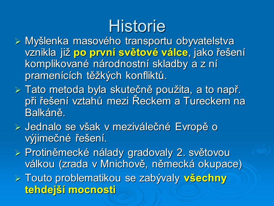 Co k tomu vedlo  Za války vládly v českých zemích protiněmecké nálady, a proto se po Heydrichiádě v roce 1942 objevila myšlenka totálního odsunu  Exilový prezident Edvard Beneš přišel s plánem, jehož součástí nebylo jen vysídlení Němců ze Sudet, ale také Maďarů z jihu Slovenska  K odsunu nutný souhlas velmocí.