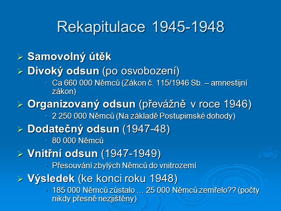 Rekapitulace 1945-1948  Samovolný útěk  Divoký odsun (po osvobození) Ca 660 000 Němců (Zákon č. 115/1946 Sb. – amnestijní zákon)Ca 660 000 Němců (Zá