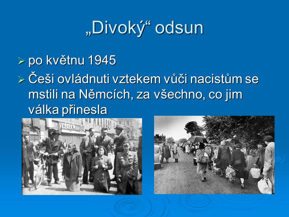 """""""Divoký"""" odsun  po květnu 1945  Češi ovládnuti vztekem vůči nacistům se mstili na Němcích, za všechno, co jim válka přinesla"""