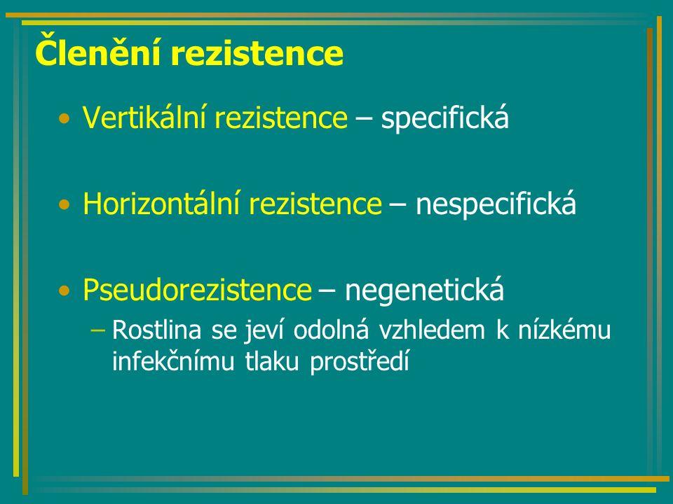 Členění rezistence Vertikální rezistence – specifická Horizontální rezistence – nespecifická Pseudorezistence – negenetická –Rostlina se jeví odolná vzhledem k nízkému infekčnímu tlaku prostředí