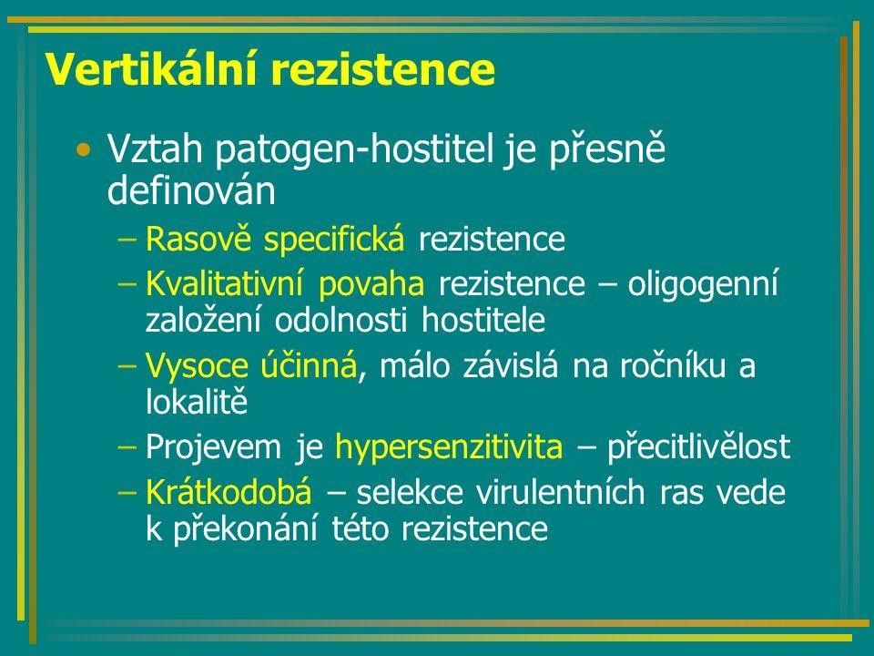 Vertikální rezistence Vztah patogen-hostitel je přesně definován –Rasově specifická rezistence –Kvalitativní povaha rezistence – oligogenní založení odolnosti hostitele –Vysoce účinná, málo závislá na ročníku a lokalitě –Projevem je hypersenzitivita – přecitlivělost –Krátkodobá – selekce virulentních ras vede k překonání této rezistence
