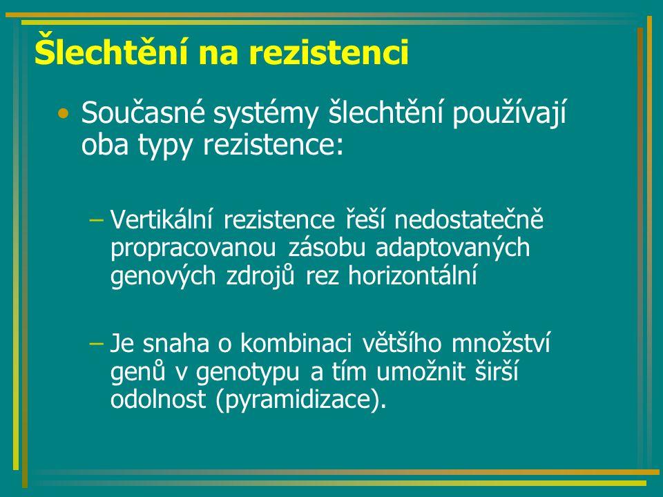 Šlechtění na rezistenci Současné systémy šlechtění používají oba typy rezistence: –Vertikální rezistence řeší nedostatečně propracovanou zásobu adaptovaných genových zdrojů rez horizontální –Je snaha o kombinaci většího množství genů v genotypu a tím umožnit širší odolnost (pyramidizace).