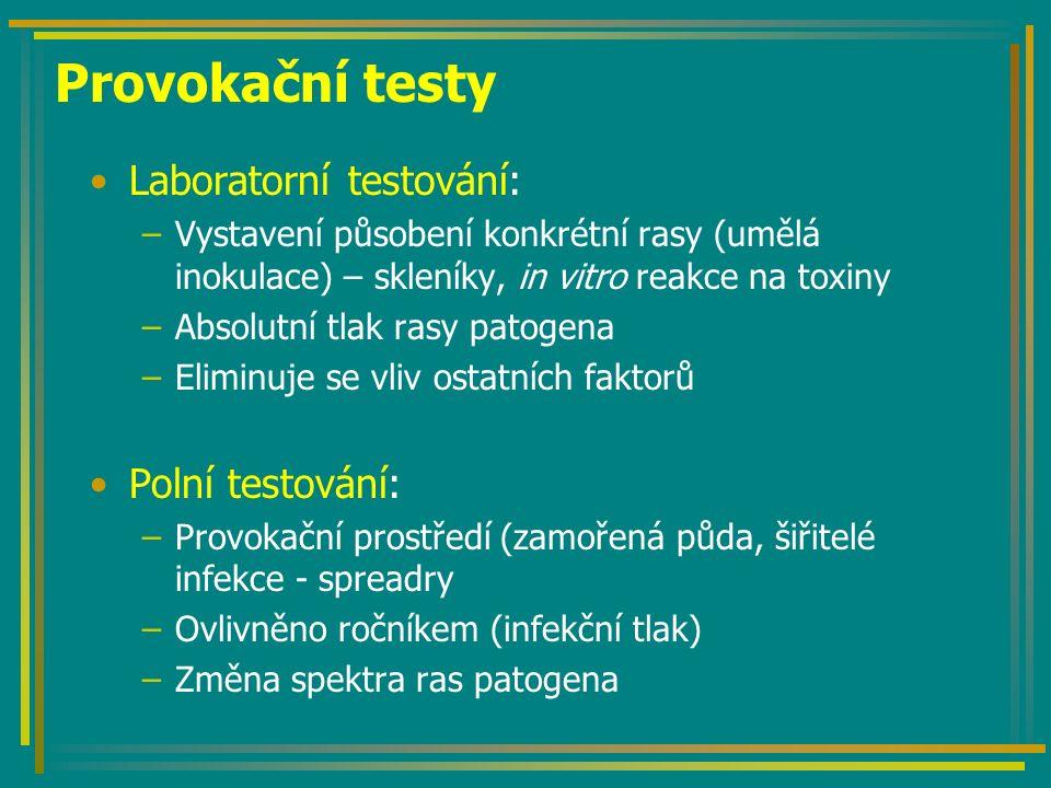 Provokační testy Laboratorní testování: –Vystavení působení konkrétní rasy (umělá inokulace) – skleníky, in vitro reakce na toxiny –Absolutní tlak rasy patogena –Eliminuje se vliv ostatních faktorů Polní testování: –Provokační prostředí (zamořená půda, šiřitelé infekce - spreadry –Ovlivněno ročníkem (infekční tlak) –Změna spektra ras patogena