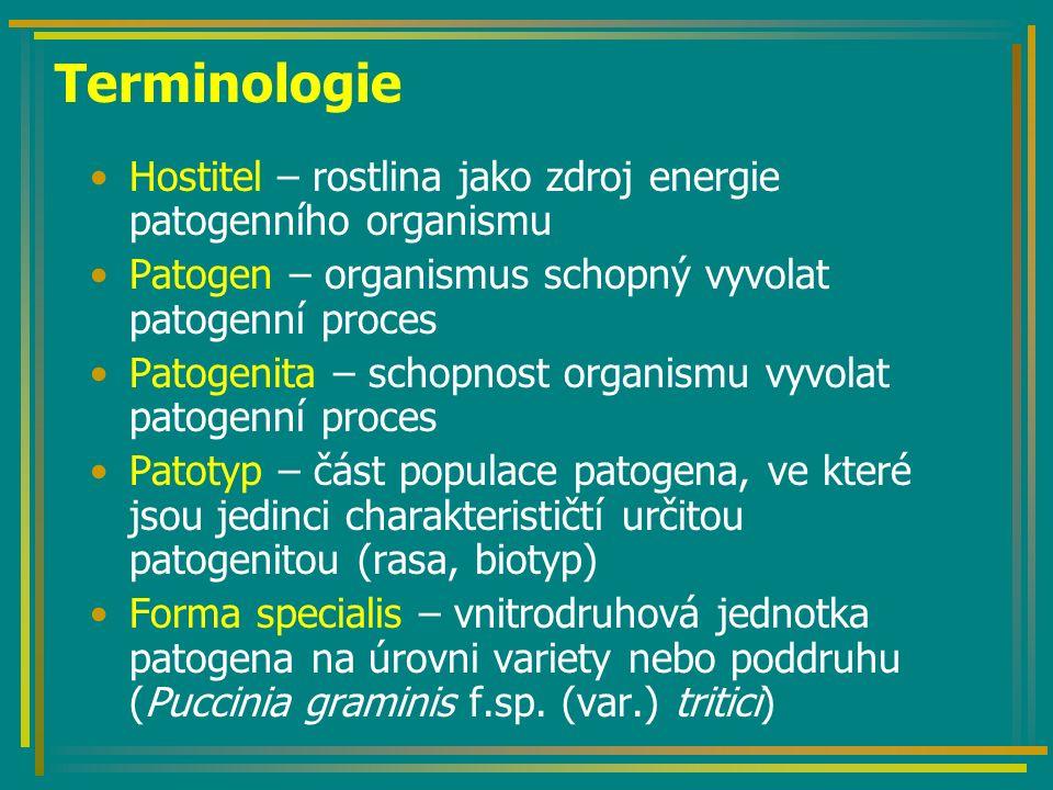 Terminologie Hostitel – rostlina jako zdroj energie patogenního organismu Patogen – organismus schopný vyvolat patogenní proces Patogenita – schopnost organismu vyvolat patogenní proces Patotyp – část populace patogena, ve které jsou jedinci charakterističtí určitou patogenitou (rasa, biotyp) Forma specialis – vnitrodruhová jednotka patogena na úrovni variety nebo poddruhu (Puccinia graminis f.sp.