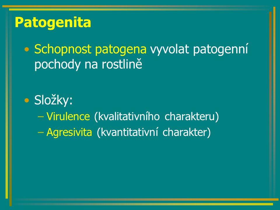 Patogenita Schopnost patogena vyvolat patogenní pochody na rostlině Složky: –Virulence (kvalitativního charakteru) –Agresivita (kvantitativní charakter)