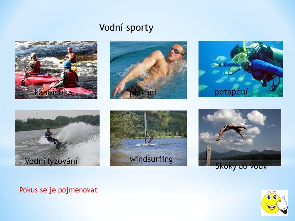 Vodní sporty Pokus se je pojmenovat kanoistikaplavání potápění Vodní lyžování windsurfing Skoky do vody