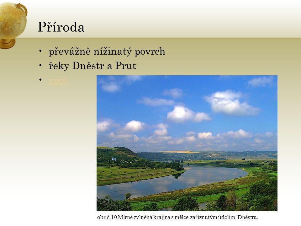 Příroda převážně nížinatý povrch řeky Dněstr a Prut zpět obr.č.10 Mírně zvlněná krajina s mělce zaříznutým údolím Dněstru.