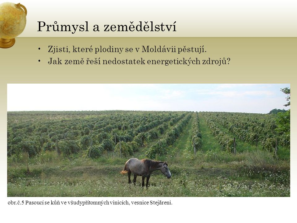 Průmysl a zemědělství Zjisti, které plodiny se v Moldávii pěstují.