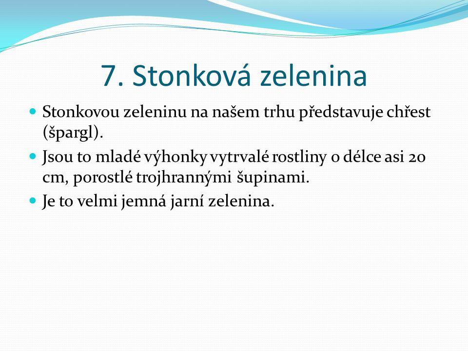 7.Stonková zelenina Stonkovou zeleninu na našem trhu představuje chřest (špargl).