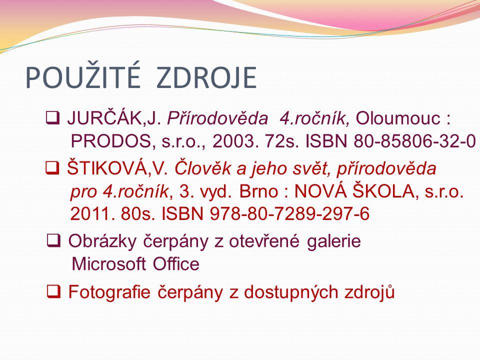 POUŽITÉ ZDROJE  JURČÁK,J. Přírodověda 4.ročník, Oloumouc : PRODOS, s.r.o., 2003.