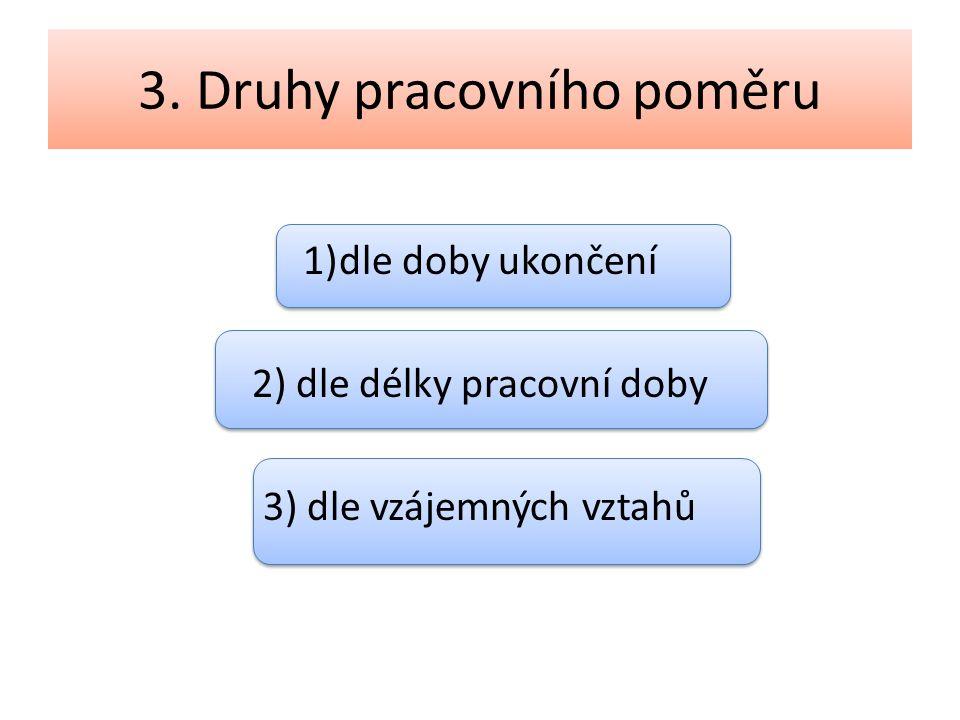 3. Druhy pracovního poměru 1)dle doby ukončení 2) dle délky pracovní doby 3) dle vzájemných vztahů