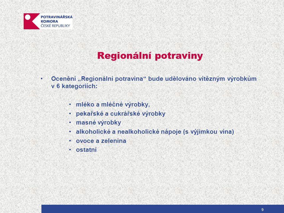 """Regionální potraviny Ocenění """"Regionální potravina bude udělováno vítězným výrobkům v 6 kategoriích: mléko a mléčné výrobky, pekařské a cukrářské výrobky masné výrobky alkoholické a nealkoholické nápoje (s výjimkou vína) ovoce a zelenina ostatní 9"""