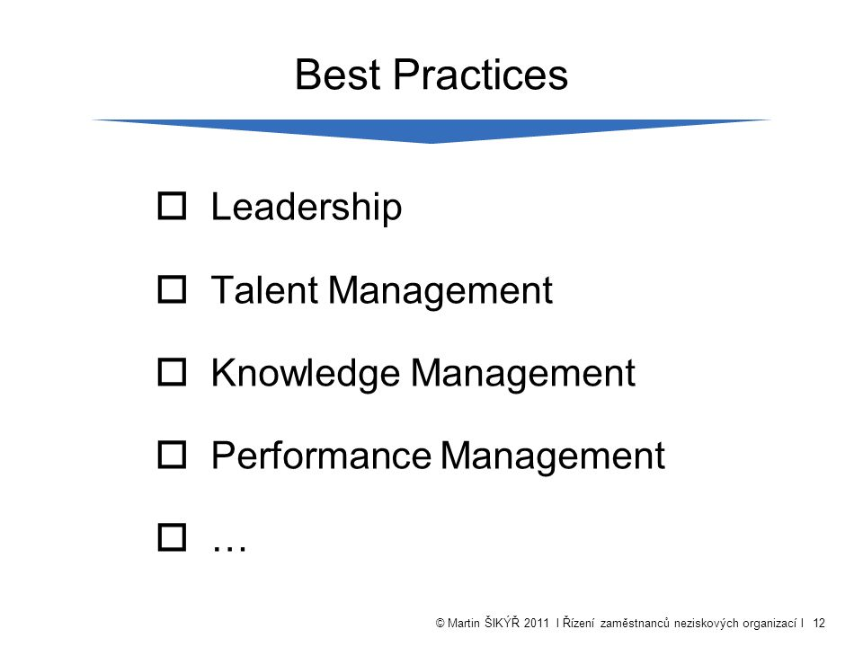 © Martin ŠIKÝŘ 2011 l Řízení zaměstnanců neziskových organizací l12 Best Practices  Leadership  Talent Management  Knowledge Management  Performance Management  …
