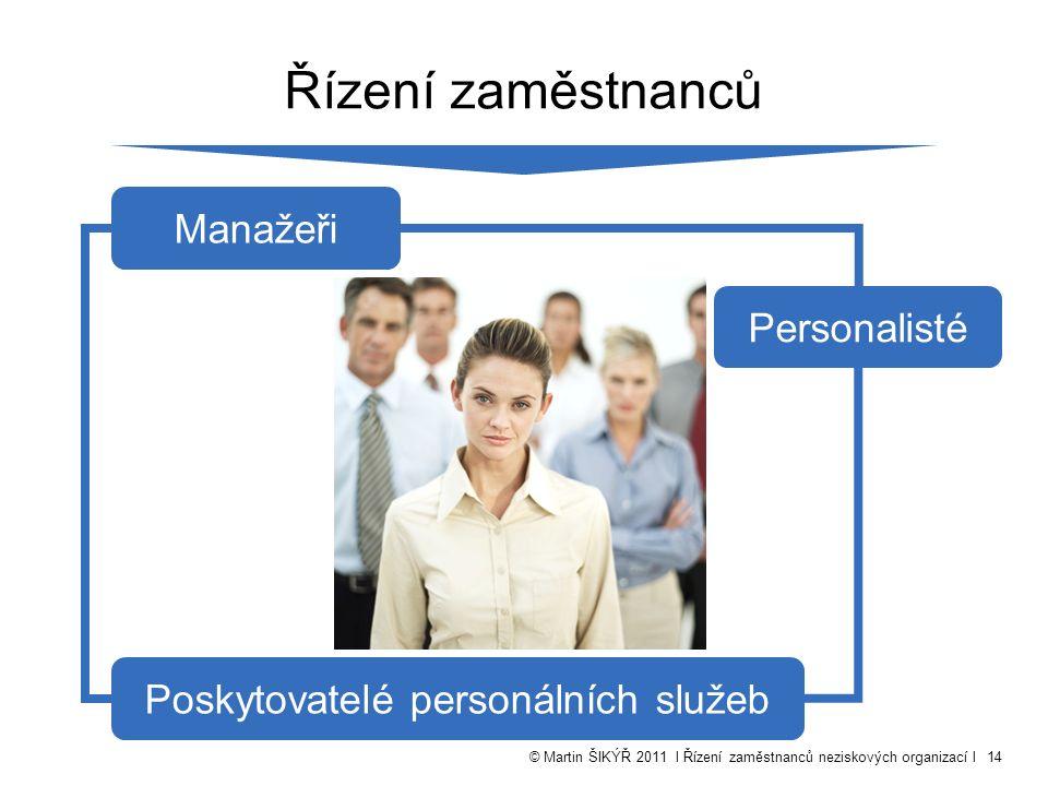 © Martin ŠIKÝŘ 2011 l Řízení zaměstnanců neziskových organizací l14 Řízení zaměstnanců Manažeři Personalisté Poskytovatelé personálních služeb