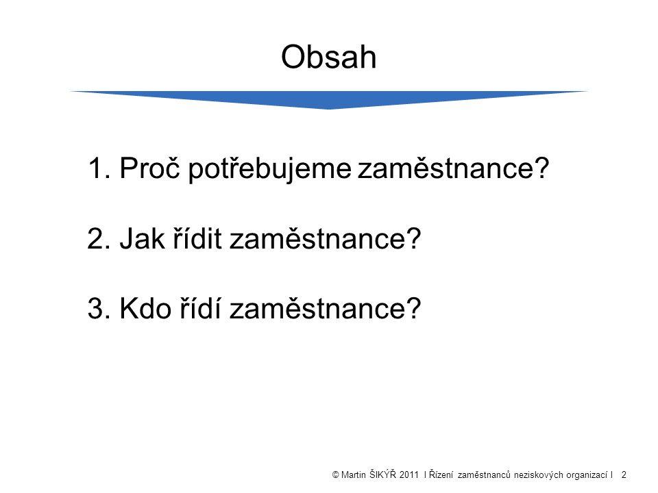 © Martin ŠIKÝŘ 2011 l Řízení zaměstnanců neziskových organizací l2 Obsah 1.