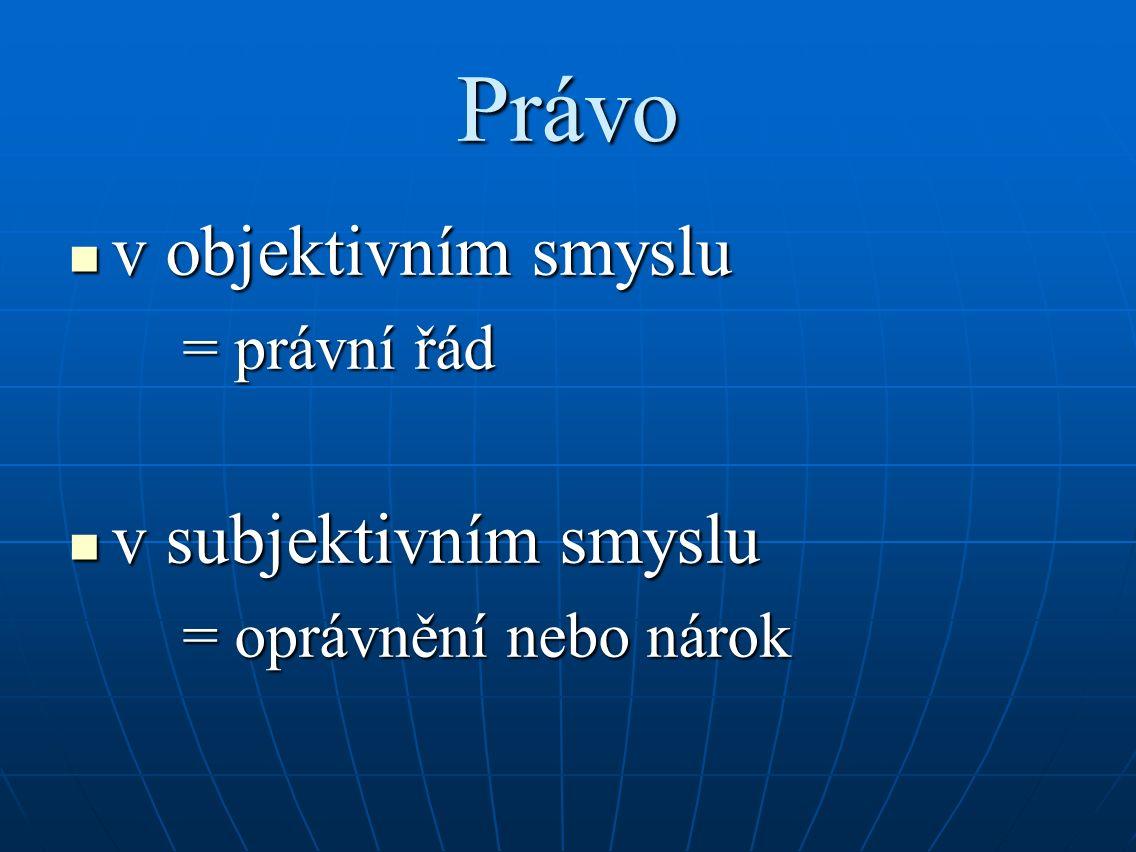 Právo v objektivním smyslu v objektivním smyslu = právní řád v subjektivním smyslu v subjektivním smyslu = oprávnění nebo nárok