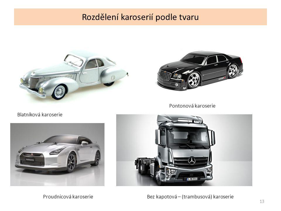 Rozdělení karoserií podle tvaru 13 Blatníková karoserie Pontonová karoserie Proudnicová karoserieBez kapotová – (trambusová) karoserie