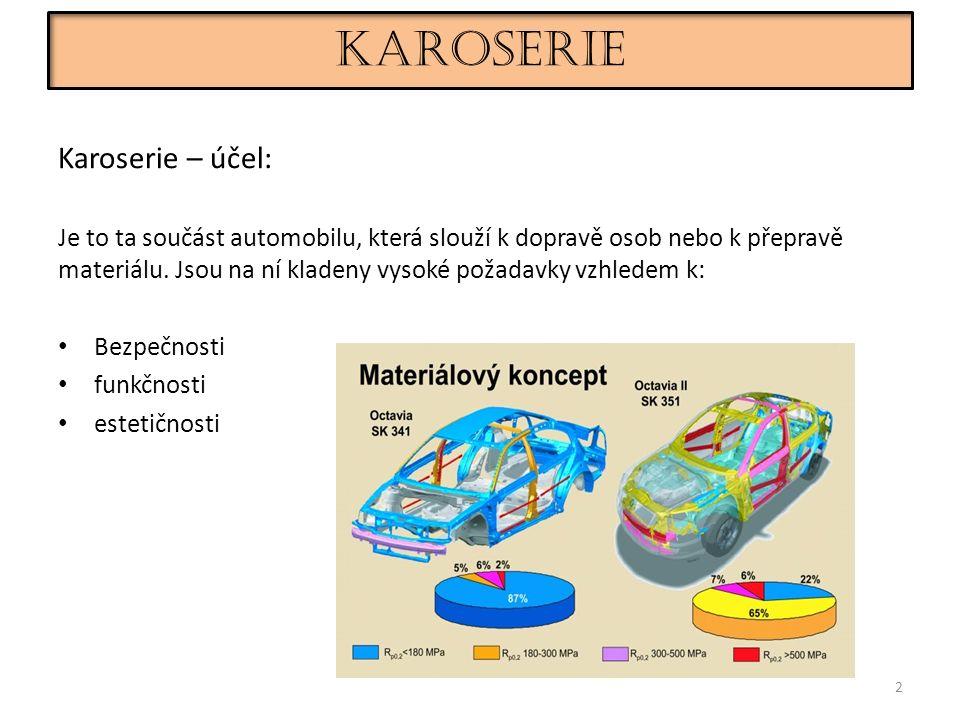 Karoserie 2 Karoserie – účel: Je to ta součást automobilu, která slouží k dopravě osob nebo k přepravě materiálu.