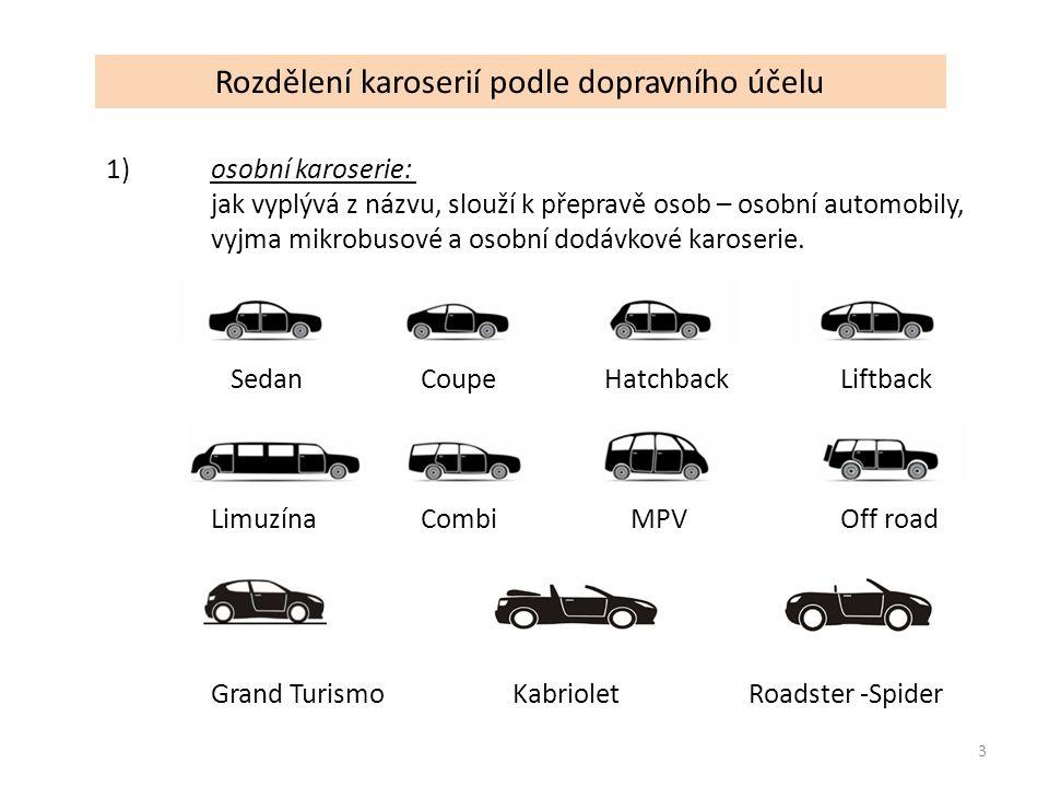 Rozdělení karoserií podle tvaru Kapotová karoserie 14 Polo kapotová karoserie