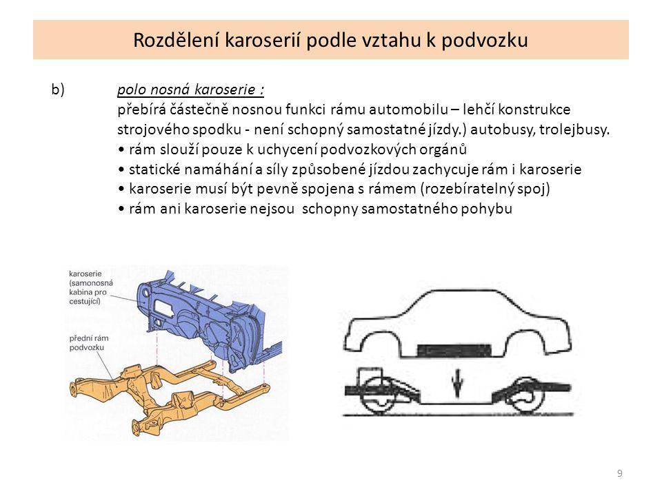 10 Rozdělení karoserií podle vztahu k podvozku c)samonosná karoserie : nemá rám ani strojový spodek - přebírá nosnou funkci, agregáty montovány přímo do karoserie, lacinější výroba, bezpečnější, dražší opravy, deformační zóny.