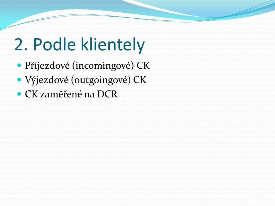 2. Podle klientely Příjezdové (incomingové) CK Výjezdové (outgoingové) CK CK zaměřené na DCR