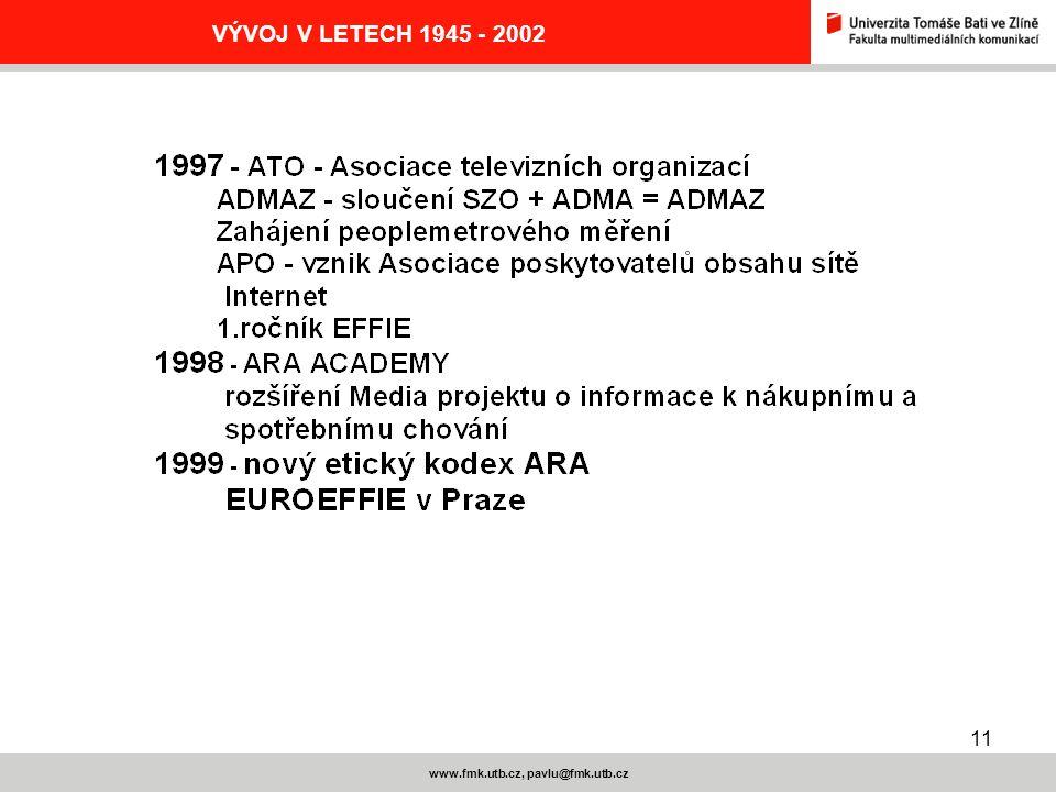 11 www.fmk.utb.cz, pavlu@fmk.utb.cz VÝVOJ V LETECH 1945 - 2002