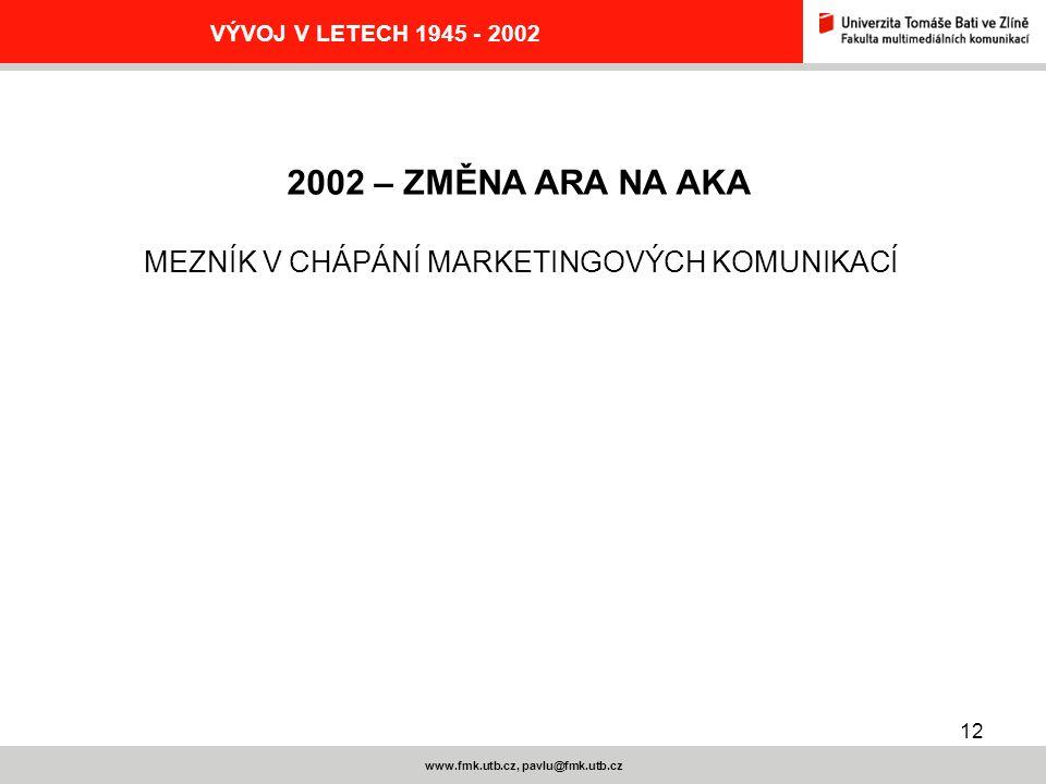12 www.fmk.utb.cz, pavlu@fmk.utb.cz VÝVOJ V LETECH 1945 - 2002 2002 – ZMĚNA ARA NA AKA MEZNÍK V CHÁPÁNÍ MARKETINGOVÝCH KOMUNIKACÍ