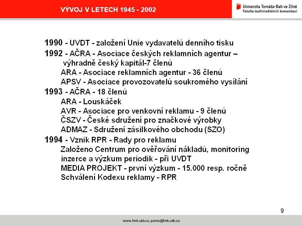 9 www.fmk.utb.cz, pavlu@fmk.utb.cz VÝVOJ V LETECH 1945 - 2002