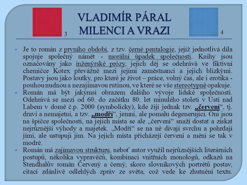 Na otázky odpovězte na základě přečtení úryvku z doslovu k vydání románu Milenci a vrazi z roku 1990, uvedeném na dalším snímku.
