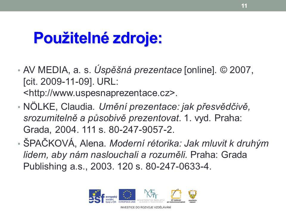 11 Použitelné zdroje: AV MEDIA, a. s. Úspěšná prezentace [online].