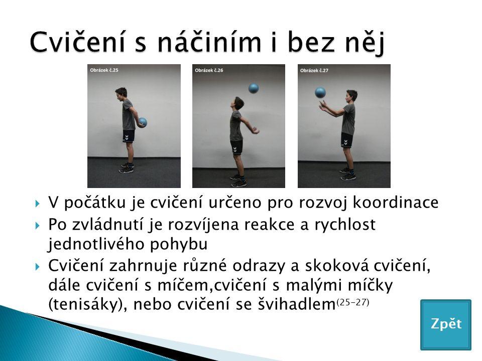  V počátku je cvičení určeno pro rozvoj koordinace  Po zvládnutí je rozvíjena reakce a rychlost jednotlivého pohybu  Cvičení zahrnuje různé odrazy a skoková cvičení, dále cvičení s míčem,cvičení s malými míčky (tenisáky), nebo cvičení se švihadlem (25-27) Zpět