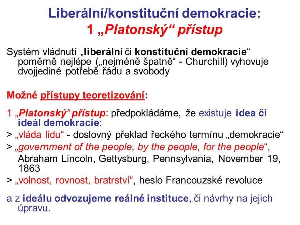 """Liberální/konstituční demokracie: 1 """"Platonský přístup Systém vládnutí """"liberální či konstituční demokracie poměrně nejlépe (""""nejméně špatně - Churchill) vyhovuje dvojjediné potřebě řádu a svobody Možné přístupy teoretizování: 1 """"Platonský přístup: předpokládáme, že existuje idea či ideál demokracie: > """"vláda lidu - doslovný překlad řeckého termínu """"demokracie > """"government of the people, by the people, for the people , Abraham Lincoln, Gettysburg, Pennsylvania, November 19, 1863 > """"volnost, rovnost, bratrství , heslo Francouzské revoluce a z ideálu odvozujeme reálné instituce, či návrhy na jejich úpravu."""