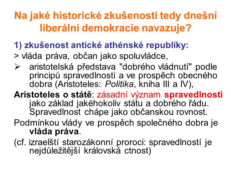 Na jaké historické zkušenosti tedy dnešní liberální demokracie navazuje.