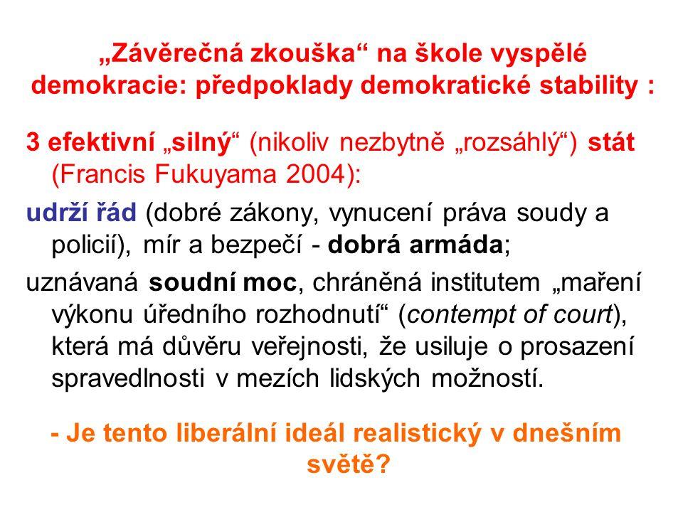 """""""Závěrečná zkouška na škole vyspělé demokracie: předpoklady demokratické stability : 3 efektivní """"silný (nikoliv nezbytně """"rozsáhlý ) stát (Francis Fukuyama 2004): udrží řád (dobré zákony, vynucení práva soudy a policií), mír a bezpečí - dobrá armáda; uznávaná soudní moc, chráněná institutem """"maření výkonu úředního rozhodnutí (contempt of court), která má důvěru veřejnosti, že usiluje o prosazení spravedlnosti v mezích lidských možností."""