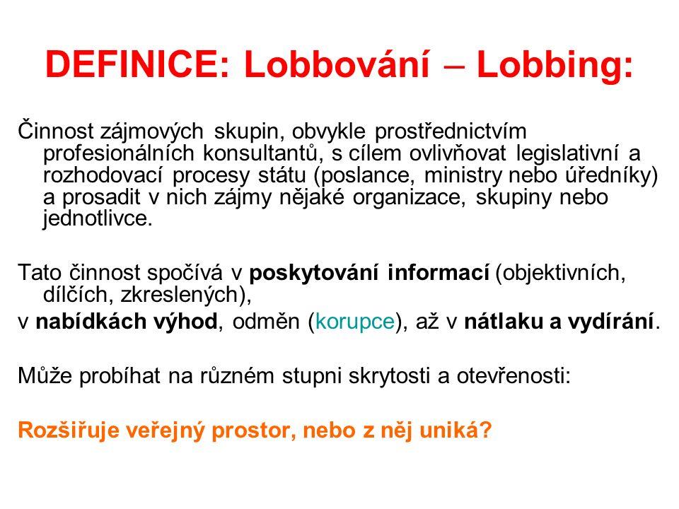 DEFINICE: Lobbování – Lobbing: Činnost zájmových skupin, obvykle prostřednictvím profesionálních konsultantů, s cílem ovlivňovat legislativní a rozhodovací procesy státu (poslance, ministry nebo úředníky) a prosadit v nich zájmy nějaké organizace, skupiny nebo jednotlivce.