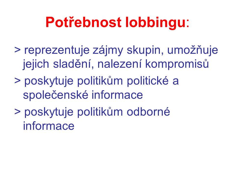 Potřebnost lobbingu: > reprezentuje zájmy skupin, umožňuje jejich sladění, nalezení kompromisů > poskytuje politikům politické a společenské informace > poskytuje politikům odborné informace