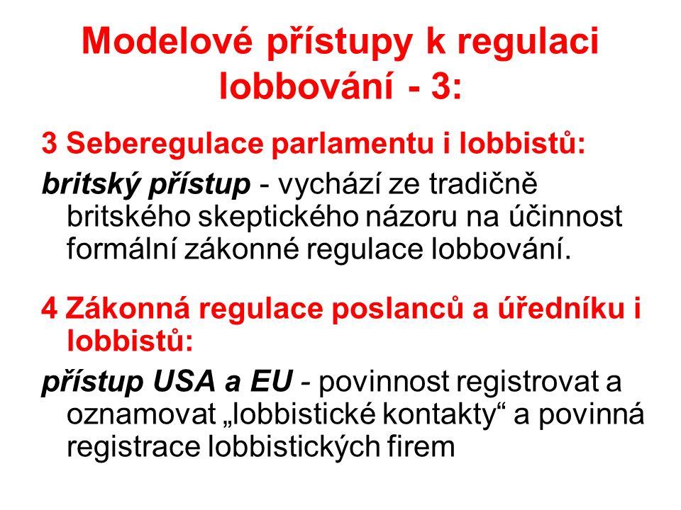 Modelové přístupy k regulaci lobbování - 3: 3 Seberegulace parlamentu i lobbistů: britský přístup - vychází ze tradičně britského skeptického názoru na účinnost formální zákonné regulace lobbování.
