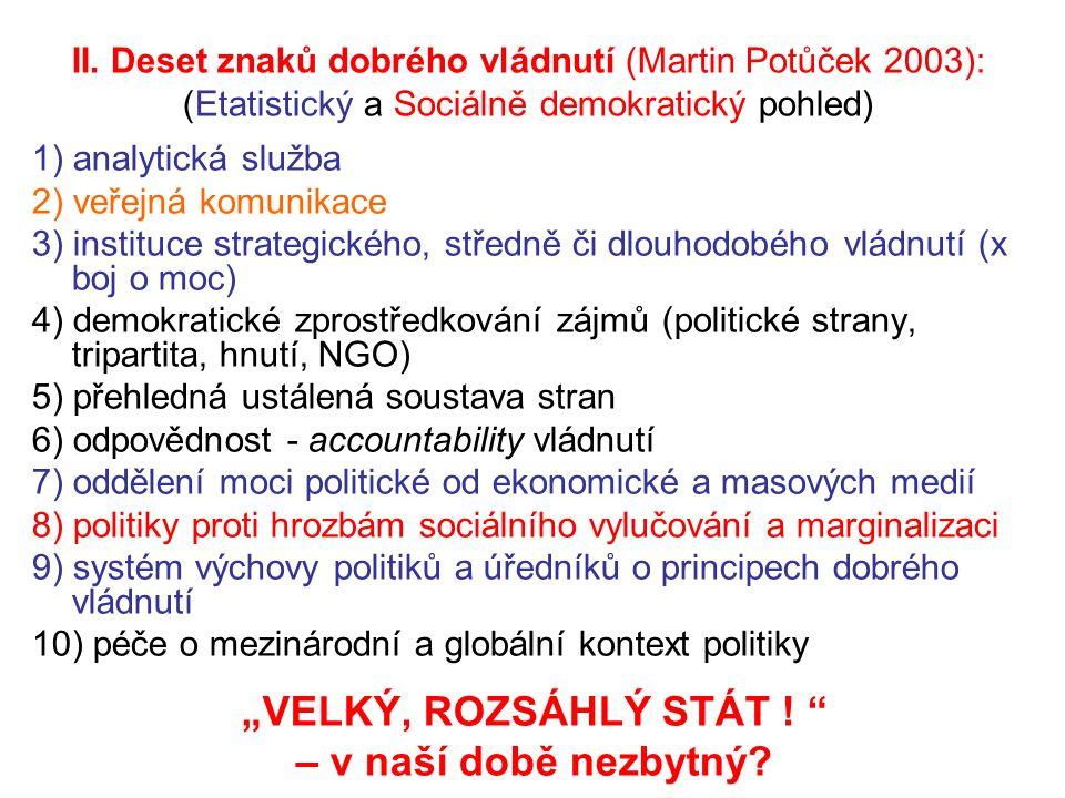 II. Deset znaků dobrého vládnutí (Martin Potůček 2003): (Etatistický a Sociálně demokratický pohled) 1) analytická služba 2) veřejná komunikace 3) ins