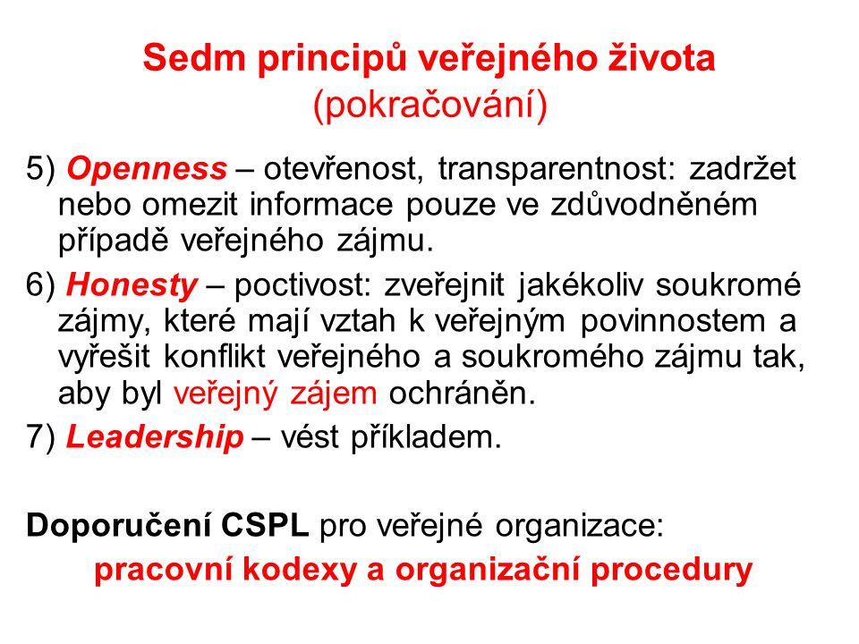 Sedm principů veřejného života (pokračování) 5) Openness – otevřenost, transparentnost: zadržet nebo omezit informace pouze ve zdůvodněném případě veřejného zájmu.
