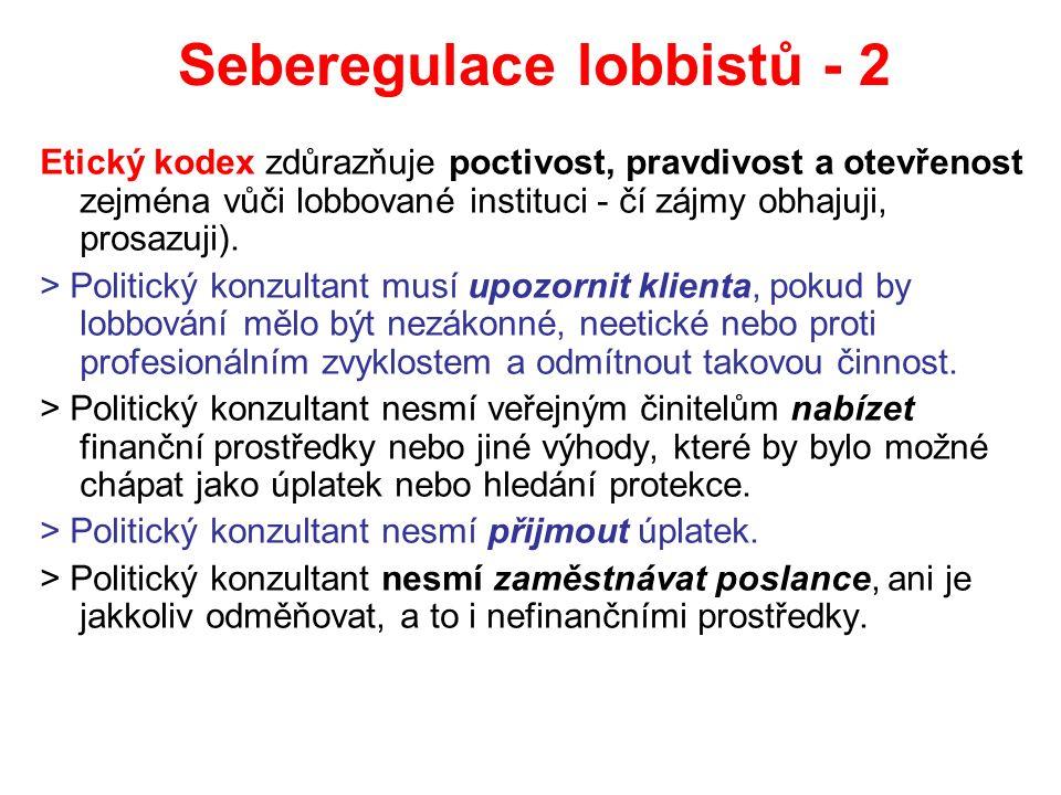 Seberegulace lobbistů - 2 Etický kodex zdůrazňuje poctivost, pravdivost a otevřenost zejména vůči lobbované instituci - čí zájmy obhajuji, prosazuji).