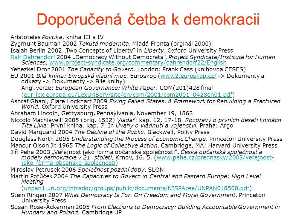 Doporučená četba k demokracii Aristoteles Politika, kniha III a IV Zygmunt Bauman 2002 Tekutá modernita.