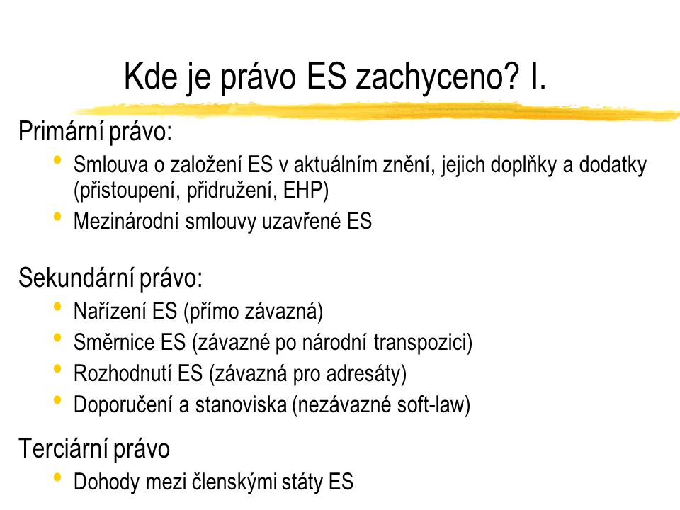Kde je právo ES zachyceno? I. Primární právo: Smlouva o založení ES v aktuálním znění, jejich doplňky a dodatky (přistoupení, přidružení, EHP) Mezinár