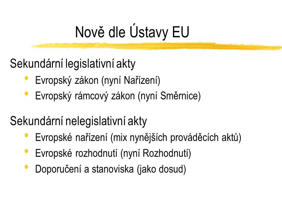 Nově dle Ústavy EU Sekundární legislativní akty Evropský zákon (nyní Nařízení) Evropský rámcový zákon (nyní Směrnice) Sekundární nelegislativní akty Evropské nařízení (mix nynějších prováděcích aktů) Evropské rozhodnutí (nyní Rozhodnutí) Doporučení a stanoviska (jako dosud)